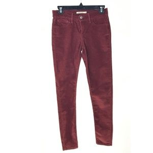 Levi's Rust Red 710 Super Skinny Corduroy Jeans